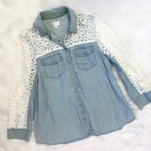 Anthropologie Denim Jean Lace Button Down Shirt